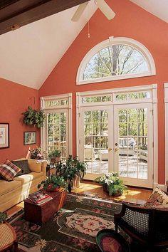 Half Circle Window, Half Moon Window, Sunroom Addition, Living Room Windows, Beautiful Living Rooms, Patio Doors, Home Renovation, Window Treatments, Interior Architecture