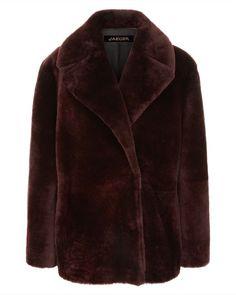 Jaegar Laboratory Bordeaux Red Shearling Coat