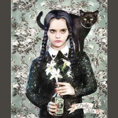 On Wednesday's we wear black...and cats! Print by Dirty Lola