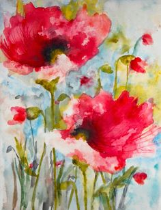 """watercolor 2014 Painting """"Dreamy Poppies IV"""" by Karin Johannesson Watercolor Poppies, Watercolor Paintings, Watercolors, Watercolor Artists, Abstract Paintings, Oil Paintings, Painting Art, Landscape Paintings, Arte Floral"""