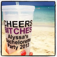 Personalized Bachelorette Party Tumbler 16 ounce  by VinylGifts, $10.00.. Michelle is amazing! Custom makes and quick shipment! Great for Bach parties and for Bride and Groom's honeymoon!