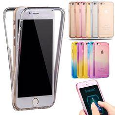 Caso a prueba de golpes para iphone 7 frontal + posterior transparente tpu soft touch caso cubierta de la caja de protección completa para el iphone 6 6 s plus 5S