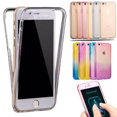 For iPhone 7 Case Shockproof Back+Front Transparent TPU Soft Touch Case Full Protective Case Cover for iPhone 6 6S Plus 5S