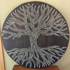 """Another """"Tree of Life"""" inspired board! This one is almost 3 feet wide!  These would be perfect for ANY home! What room would you hang this large beauty in?  #tree #trees #wood #woods #treeoflife #inspired #nature #natureporn #natureaddict #naturelovers #nature_lovers #naturehippys #outdoors #outside #stringart #crookedtreetraders #homedecor #rustic #roots #yarn #string #nails #life #beauty #beautiful #cool #instagood #inspire #hardwork #etsy"""