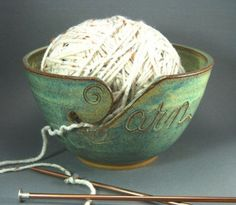 I've seen yarn bowls before, but I like how the Y is incorporated into this one