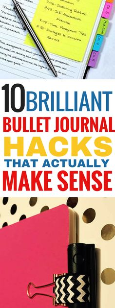 These 10 bullet journal hacks are THE BEST! I'm so glad I found these great bullet journal tips and hacks that actually work! Now I can be more productive when using my bullet journal! Definitely saving for later! #bulletjournal #bulletjournaling #productivity