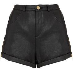 Zip Side Leather Look Shorts ($60) ❤ liked on Polyvore