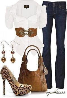 White dress shirt, jeans, belt, earrings, high heel cheetah style shoes and brown hand bag for ladies