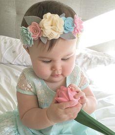 Felt Headband, Baby Flower Headbands, Baby Bows, Felt Flowers, Fabric Flowers, Toddler Hair Clips, Baby Turban, Paperclay, Diy Hair Accessories