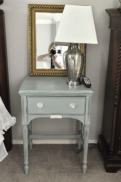 Old Sewing Table turned into a nightstand with Chalk Paint!