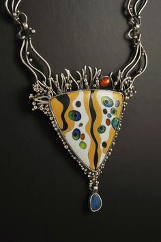 Klimt inspired silver cloisonne enamel pendant featuring opal drop and sunstone. Hand-wrought matching chain. Enamel Jewelry, Pendant Jewelry, Jewelry Art, Jewelry Design, Unique Jewelry, Artisan Jewelry, Handcrafted Jewelry, Beaded Lanyards, Contemporary Jewellery