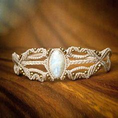 Magical Moonstone Macrame Bracelet Tribal by MacramaniaShop