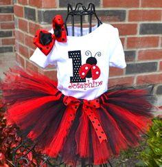 Lady Bug Birthday Age Tutu Set in Red & Black-