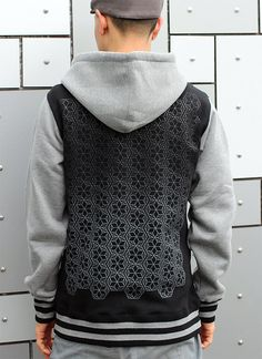 Fade to Black on Black Rythmatix Hoodie - Repeated Pattern Urban Street Wear