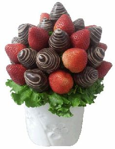 Natural strawberries with chocolate dippes and swirled plump and juicy!