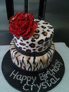 animal print birthday cake, leopard print, tiger print, zebra print, red rose, sparkle, bling birthday cake