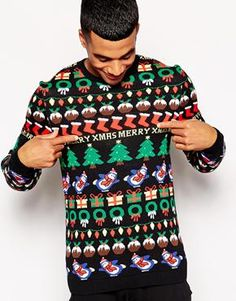 Discover the range of men's knitwear with ASOS. Choose from men's jumpers, pullovers and cardigans in a range of styles and colours. Shop now at ASOS. Bad Christmas Jumpers, Christmas Jumper Day, Diy Ugly Christmas Sweater, Classy Christmas, Ugly Sweater Party, Holiday Sweater, Christmas Clothes, Christmas 2014, Asos