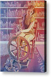 Spinning Wool Canvas Prints - Spinning Tales Canvas Print by Jenny Armitage