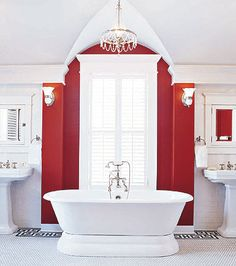 bath with chandelier, stylish red