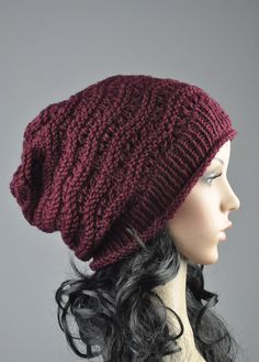 Burgundy Chunky Hat weaving pattern slouchy hat wool by MaxMelody, $32.00