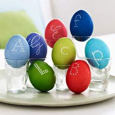 Display monogrammed eggs in shot glasses for place settings with a personal touch. - FamilyCircle.com