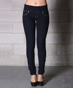 Take a look at this Navy Denim Pull-On Skinny Jeans by Lola Jeans on #zulily today!