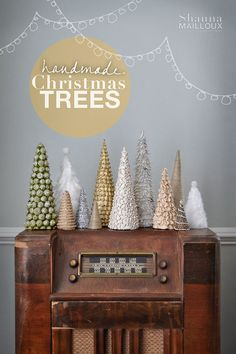 Christmas trees on an old radio