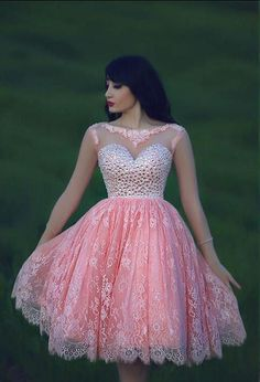 Cheap Backless Short Prom Dresses 2015 Pink Lace Sheer Neck Crystal Ball Gown Party Homecoming Evening Cocktail Gowns Custom Made Sexy