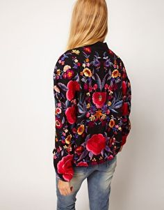 Bomber Jacket With All Over Embroidery