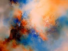 "Large Canvas Abstract  Painting By Simon Kenny "" Herald "" Mixed Media. via Etsy."
