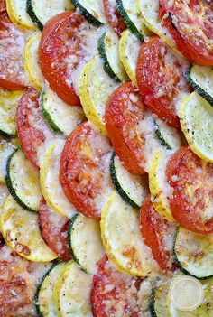 Fresh summer vegetables are sliced, baked, and then layered under a blanket of parmesan cheese in this simple Summer Vegetable Gratin side dish! | iowagirleats.com