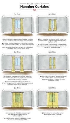 The Dos & Don'ts of Hanging Curtains: An Illustrated Guide Nothing makes a room feel well-dressed quite like carefully chosen, expertly hung curtains. When done right, your ceilings can look taller and your room will appear complete. Apartment Living, Apartment Therapy, Living Rooms, How To Decorate Living Room, Cheap Apartment, Apartment Furniture, Bedroom Layout How To Arrange, Small Apartment Interior Design, Feng Shui Apartment