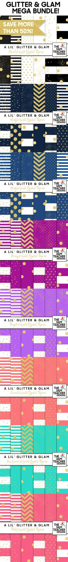 Glitter and Glam Digital Papers Mega Bundle created by The 3AM Teacher Designs   Michelle Tsivgadellis. The bundle includes 96 hand-painted digital paper patterns to choose from. Each set includes a fun color paired with a pretty glitter gold.   http://www.3amteacher.com/store/p156/p.html