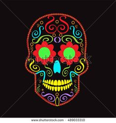 Skull vector background for fashion design, patterns, tattoos neon color