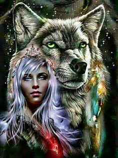 Native American Wolf, Native American Pictures, Native American Artwork, Wolf Images, Wolf Photos, Wolf Pictures, Fantasy Wolf, Dark Fantasy Art, Wolves And Women