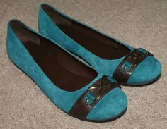 Cole Haan blue suede ballet flats shoes womens size 10B #ColeHaan #BalletFlats #Casual