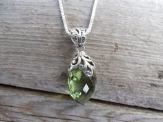 Beautiful green amethyst necklave handmade in sterling silver by Billyrebs on Etsy