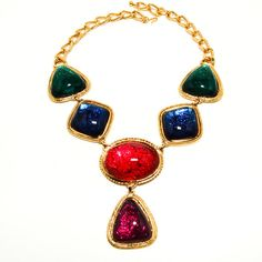 Kenneth Jay Lane KJL for Avon Caprianti Large Statement Necklace Jewel Tones Colorful Cabochons Book Piece