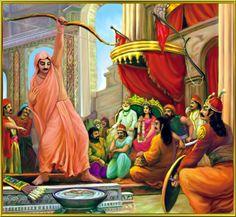 Arjuna wins Draupadi's hand at Draupadi's svayambara