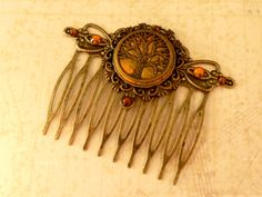 Elegant hair comb antique style in golden green with tree ornament hair jewelry woman gift idea - pinned by pin4etsy.com