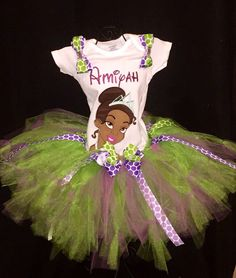 Princess tiana tutu birthday set