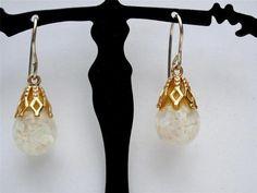 14k Gold Floating Opal Dangle Pierced Earrings 2 1 grams Vintage   eBay