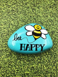 Rock Painting Ideas Discover Bee Happy Painted Rock Be Happy Stone Encouragement Rock Affirmation Stone Hand Painted Rock Christmas gift stocking stuffer Rock Painting Patterns, Rock Painting Ideas Easy, Rock Painting Designs, Paint Designs, Happy Rock, Bee Happy, Painted Garden Rocks, Painted Rocks Craft, Hand Painted Rocks