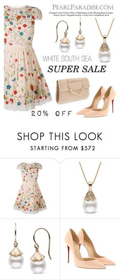 """""""White South Sea Pearl/20 % OFF"""" by pearlparadise ❤ liked on Polyvore featuring Alice + Olivia, Christian Louboutin and Miss Selfridge"""