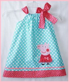 Peppa Pig dress Aqua dot and Hot pink