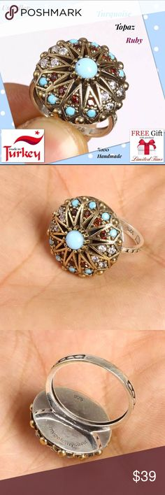 """VINTAGE RUBY TURQUOISE 925 SILVER WOMEN  RING Material is .925 Sterling Silver and Bronze. The stones are RUBY, TOPAZ, TURQUOISE.This Ring is 5,57 grams. Head size is 0,80"""". Ring Size is 8All our silver items have the 925 stamp.***All our items are made in EUROPE with high quality workmanship*** Visit our other auctions for great deals The Photos in Our Auctions Are Of The Actual You  All items sold are brand new. Package Include: 1pc Ring + VELVET BOX+Limited time free nano microfiber…"""