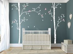 Birch Trees for Nursery room with birds Wall Stickers for Kids Room Wall Sticker Decals Art  DecalIsland - Birch Trees wall decal SD 059 on Etsy, $68.00