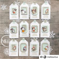 These beautiful projects are inspiring me to whip up some more little agenda sets for #2019 just so I can keep seeing projects like these! Thank you @mettewitus for sharing these amazing #holidaytags with us! ❤️#regramwithmamaelephant #littlestamps #littleagendastamps