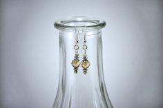 Light Champagne Faceted Crystal with Silver Accents Drop Earring by KoningStilsonDesign on Etsy Bead Earrings, Crystal Earrings, Glass Beads, Glass Vase, Blue Cats, Faceted Crystal, Round Beads, Etsy Shop, Crystals