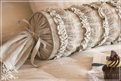 shows how to make their Ruffles and Romance Neckroll Pillow. The long round - Pillow Art Sewing Pillows, Diy Pillows, Couch Pillows, Custom Pillows, Throw Pillows, Bolster Pillow, Cushions, Neck Roll Pillow, Living Room Decor Pillows